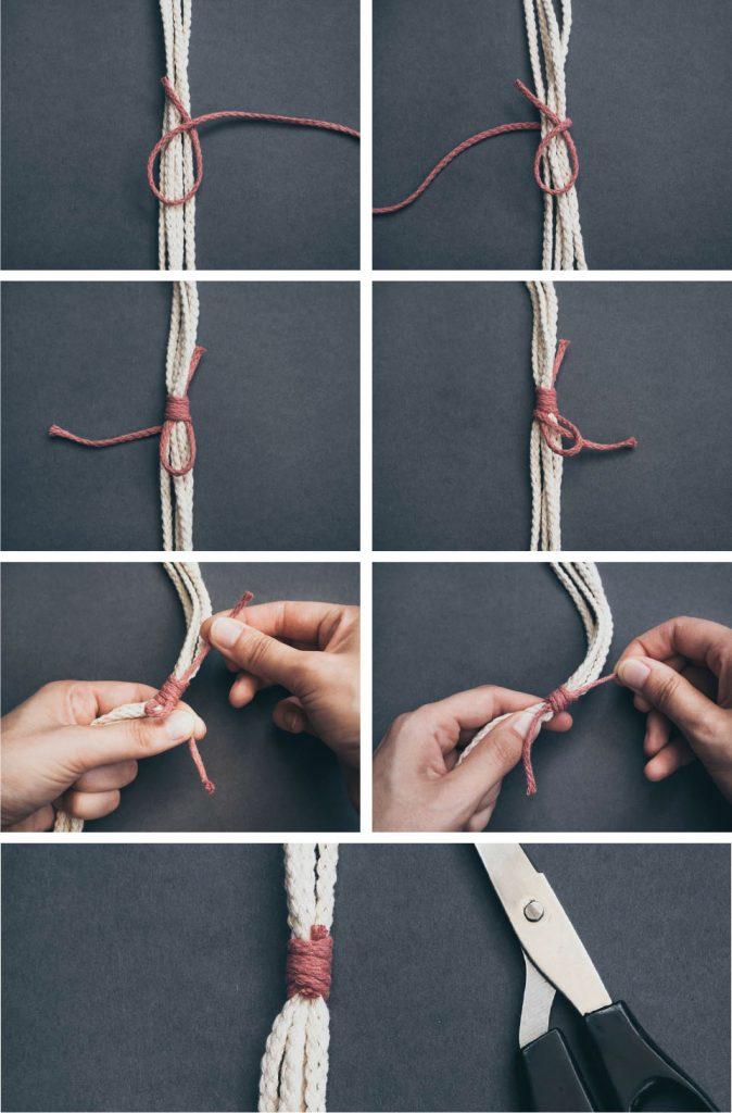 Makramee Anleitung: Wickelknoten zum Zusammenhalten der Fäden
