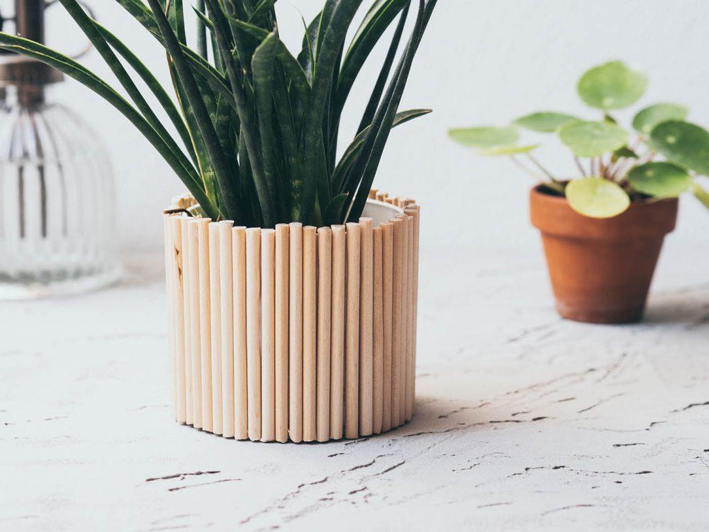 Pflanztopf Upcycling mit Holz
